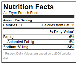 Nutrition Facts - Air Fryer French Fries