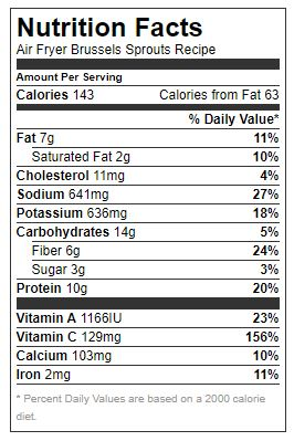 Nutrition facts - AIR FRYER BRUSSELS SPROUTS