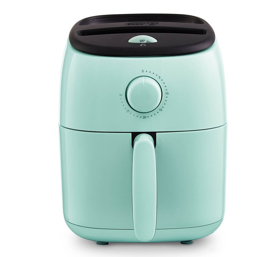 Dash DCAF200GBAQ02 Tasti Crisp Electric Air Fryer Oven Cooker with Temperature Control, Non-stick Fry Basket, Recipe Guide + Auto Shut Off Feature, 1000-Watt, 2.6Qt, Aqua