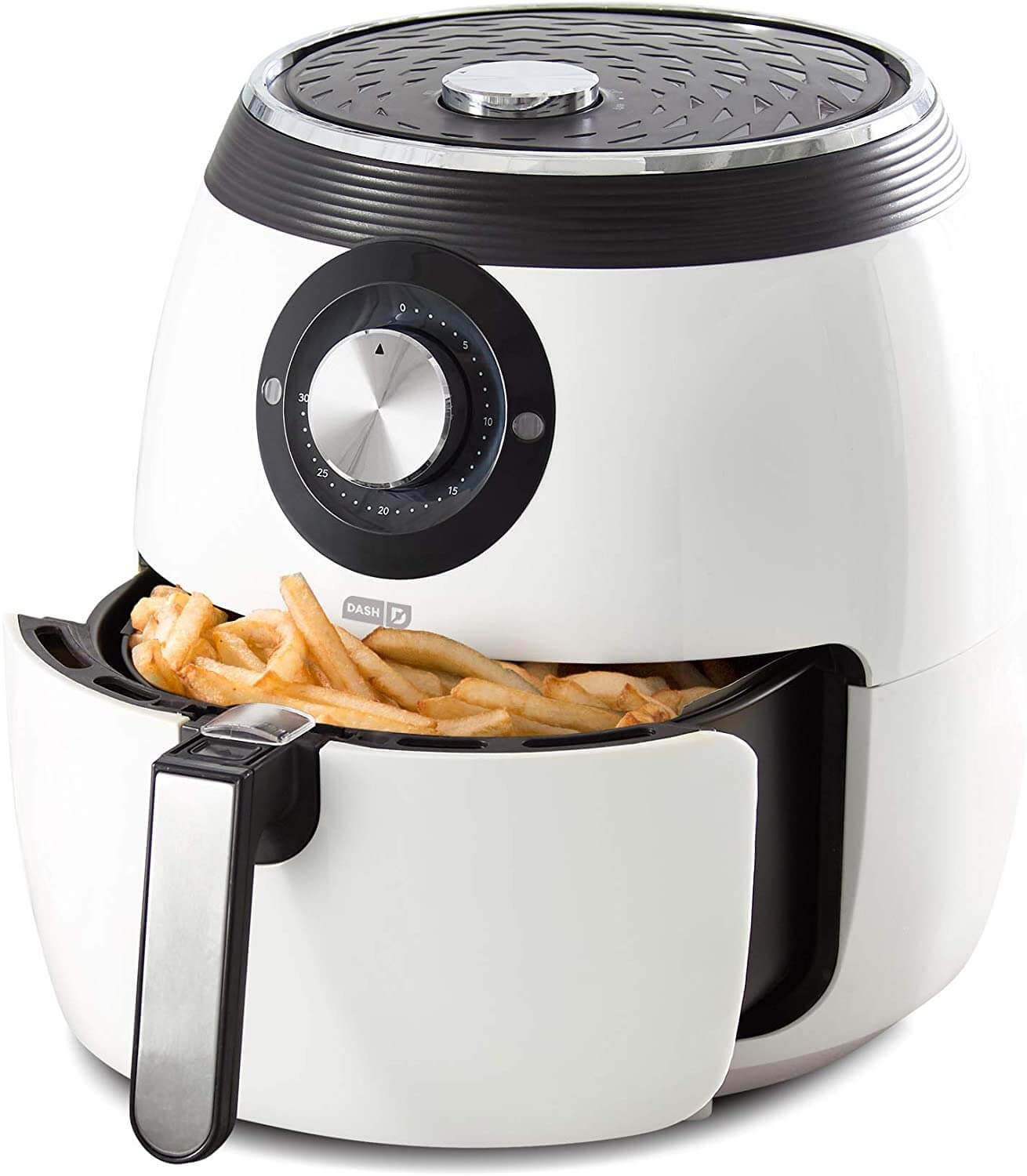 Dash DFAF455GBWH01 Deluxe Electric Air Fryer + Oven Cooker with Temperature Control, Non-stick Fry Basket, Recipe Guide + Auto Shut Off Feature, 1700-Watt, 6 Quart, 6 qt, White